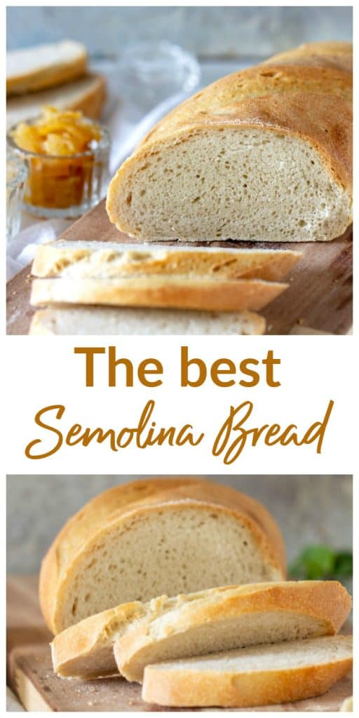 Slices of semolina bread on wooden board, long pin with text