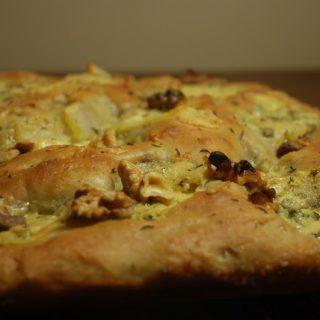 Potato, walnut and blue cheese focaccia