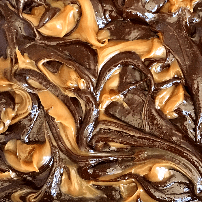 Close-up of Raw Brownies with dulce de leche marble
