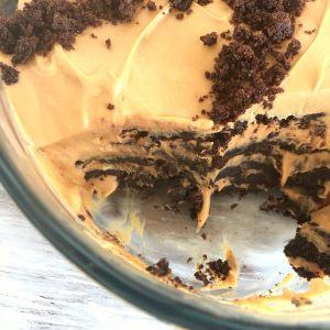 Inside view of Chocotorta on glass bowl