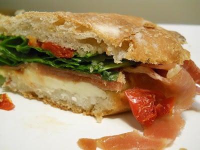 Serrano Ham, Mozzarella, Arugula on Olive Ciabatta #SundaySupper
