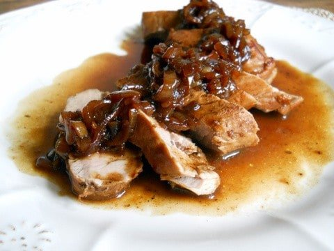 Pork Loin with Port Shallot Sauce