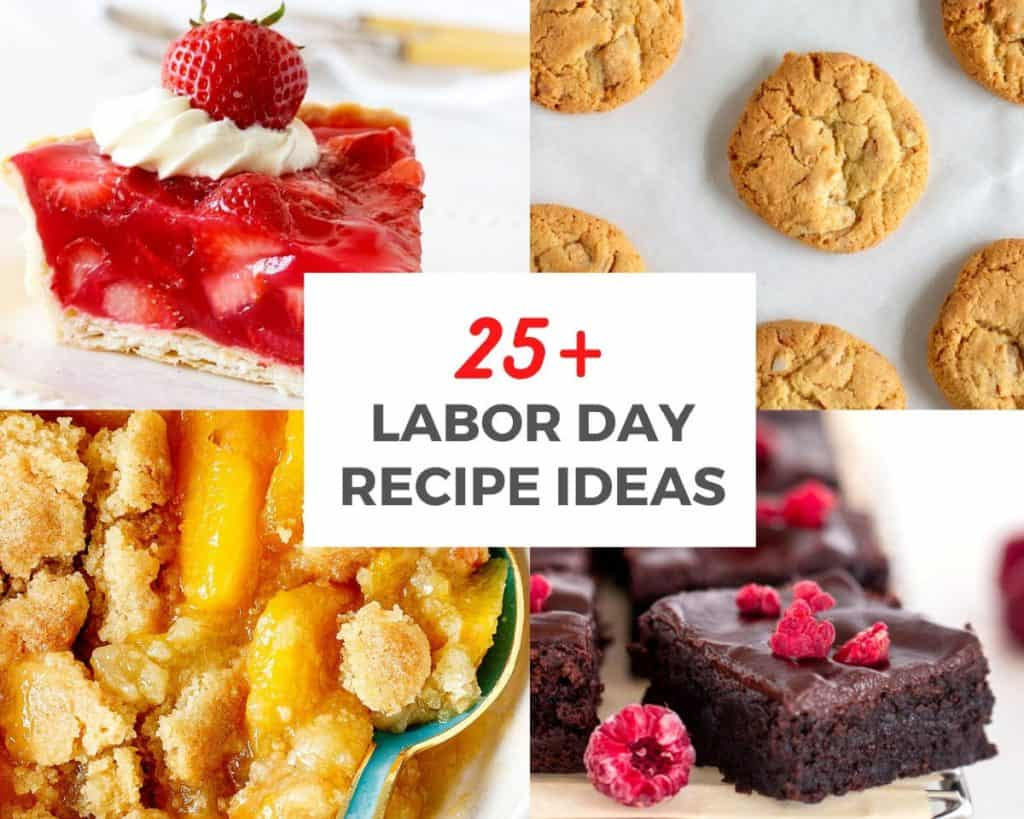 Image collage with summer desserts and cookies; red grey text overlay