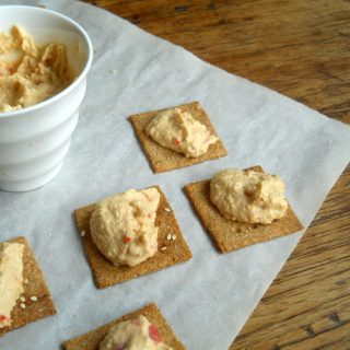 Homemade Wheat Thins Crackers + Roasted Red Pepper Hummus