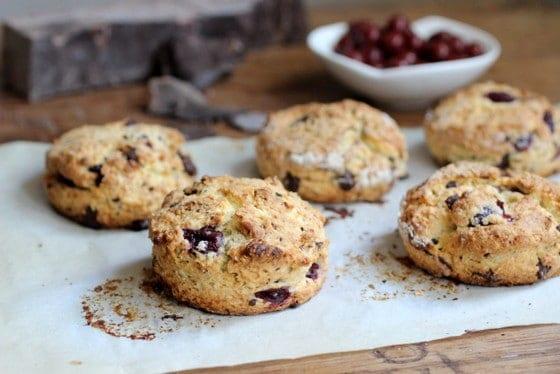 Chocolate sour cherry scones