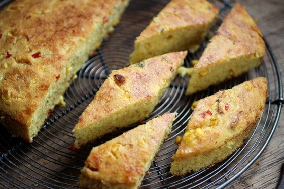 Double Cornbread with Red Pepper, Jalapeños and Cheese