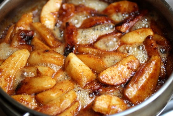 Deep golden Caramelized Apples in skillet