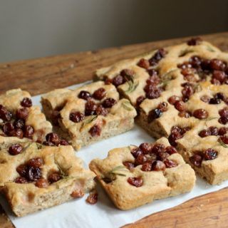 Whole Wheat Focaccia with Roasted Grapes and Goat Cheese