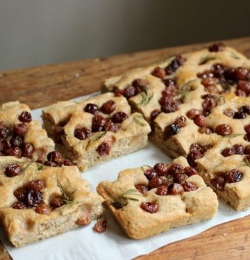 WHOLE WHEAT FOCACCIA WITH ROASTED GRAPES