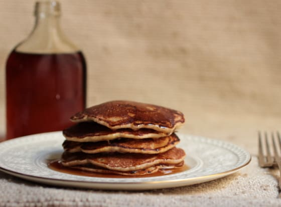 Cornmeal Berry Pancakes + Homemade Maple Syrup