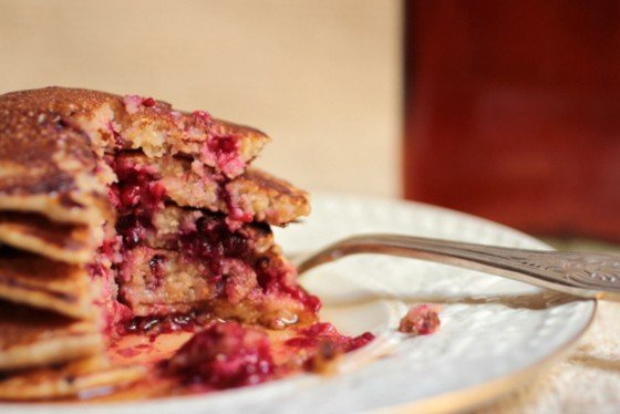 Cornmeal Berry Pancakes + Homemade Maple Syrup