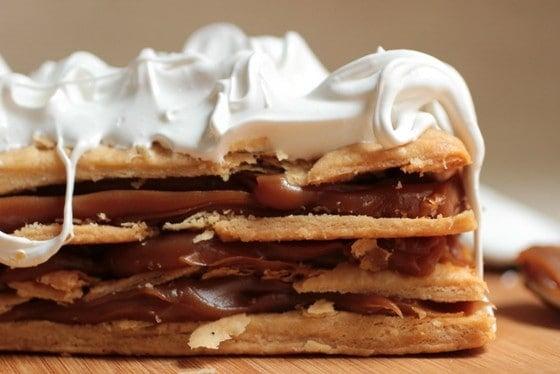 Close up of dulce de leche, puff pastry and meringue dessert