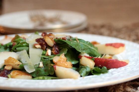 Pear Almond Arugula Salad with Honey Mustard Vinaigrette