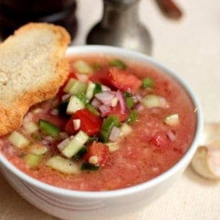 Bread and Tomato Soup – Gazpacho Style  #SundaySupper