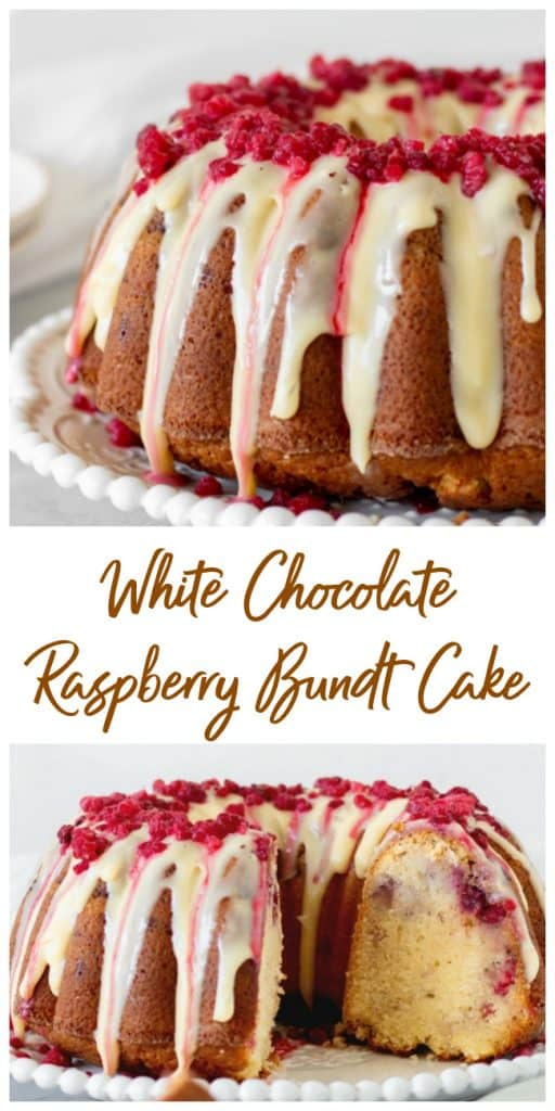 Glazed white chocolate raspberry bundt cake on white plate, grey background, long pin with text