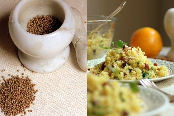 Collage, Mortar, pestle and coriander with plates of Orange Almond Couscous