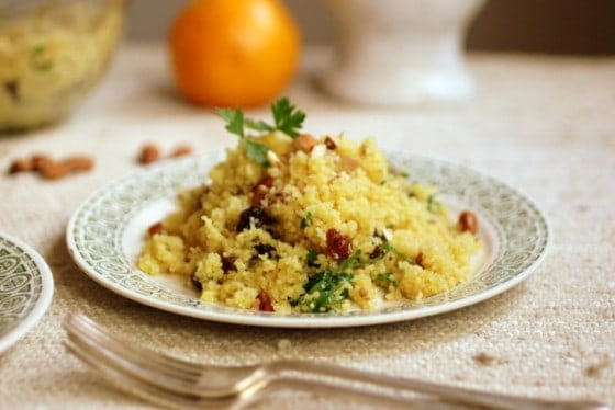 Orange, Raisin and Almond Couscous  #SundaySupper
