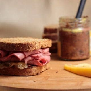 Pastrami Gruyere Sandwich on Rye with Red Wine Mustard