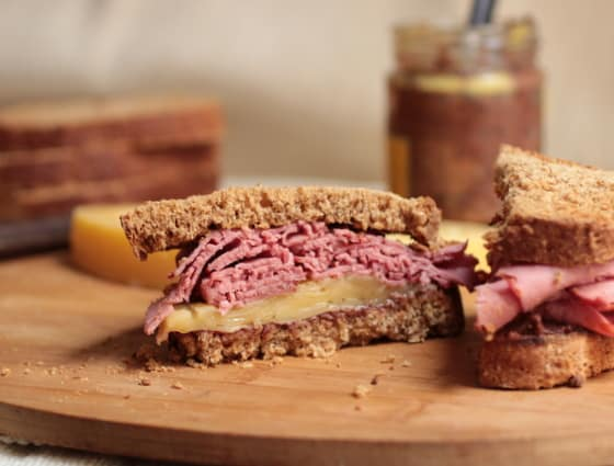 Pastrami Gruyere on Rye with Red Wine Mustard