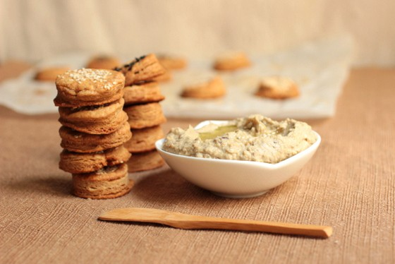 Eggplant Hummus + Whole Wheat Dough Crackers