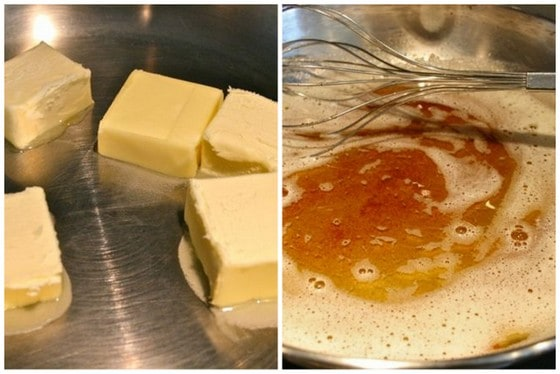 Image collage, melting butter and letting it brown