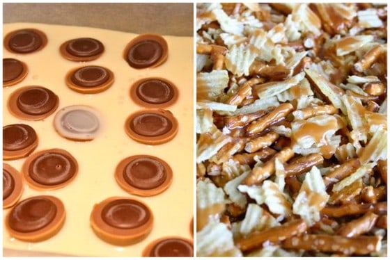 Image collage, topping bars with caramel rounds, potato chips and pretzels