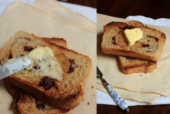 Collage of buttering pieces of cinnamon strawberry toasted bread