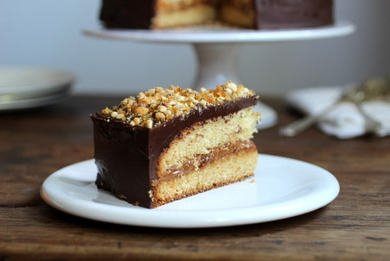 Buttermilk Cake with Dulce de Leche Praline Filling and Cream Cheese Chocolate Frosting