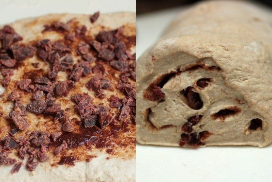 Collage of cinnamon strawberry bread process, filling the dough and rolled dough