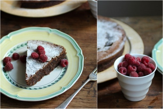 Chocolate Almond Torte with Raspberries (gluten free)
