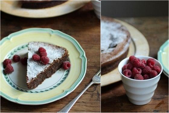 Chocolate Almond Torte with Raspberries (gluten free)