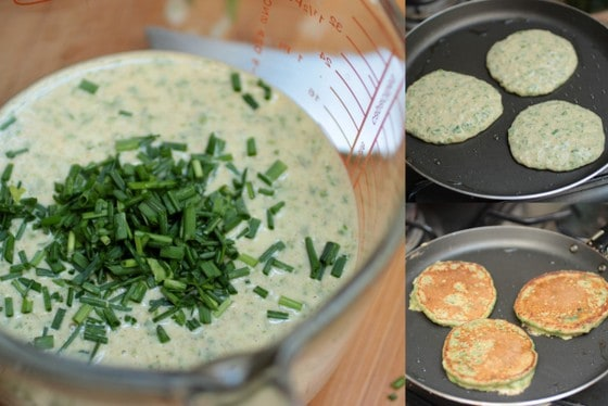 Cooking chard pancake on a skillet, process shot collage