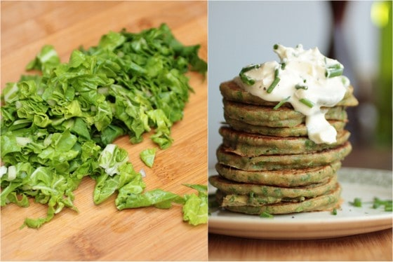 Chard pancakes and chopped swiss chard image collage