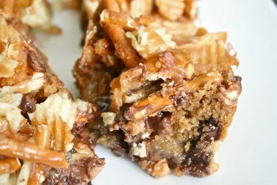 Close-up of potato chip and pretzel bars