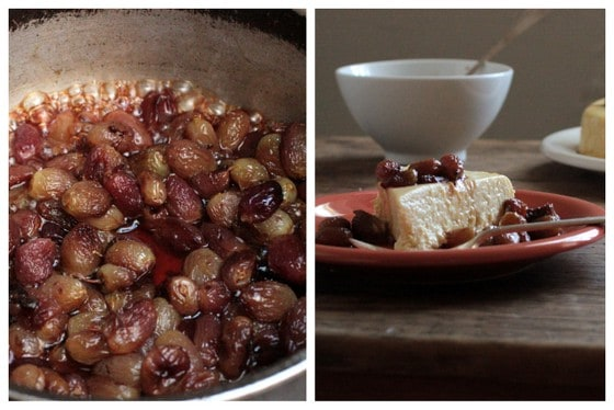 Caramelizing grapes; cheesecake in plate, white bowl on wooden table