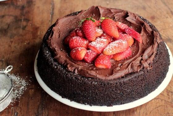 Vegan Chocolate Strawberry Mousse Cake