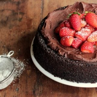 Vegan Chocolate Strawberry Mousse Cake
