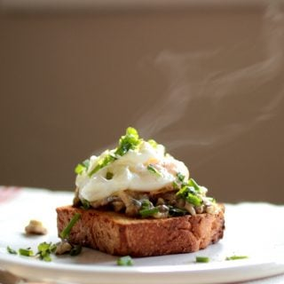Creamy Mushrooms with Poached Eggs