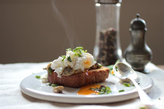 Creamy Mushrooms with (free-form) Poached Eggs