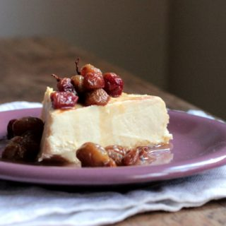8 Hour Cheesecake with Roasted Grapes (gluten free)