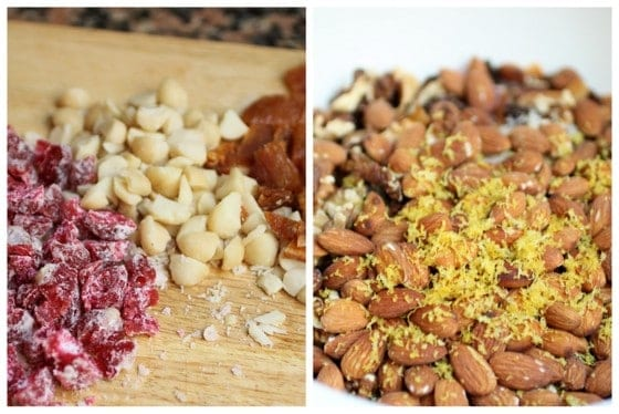 Chopped nuts and dried fruit on wooden board