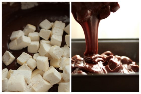 Two image collage of marshmallows and pouring chocolate fudge into metal pan