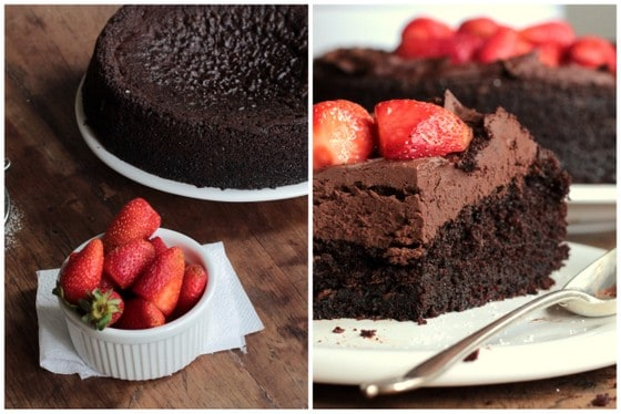 Vegan Chocolate Strawberry Mousse Cake  #ChocolateParty