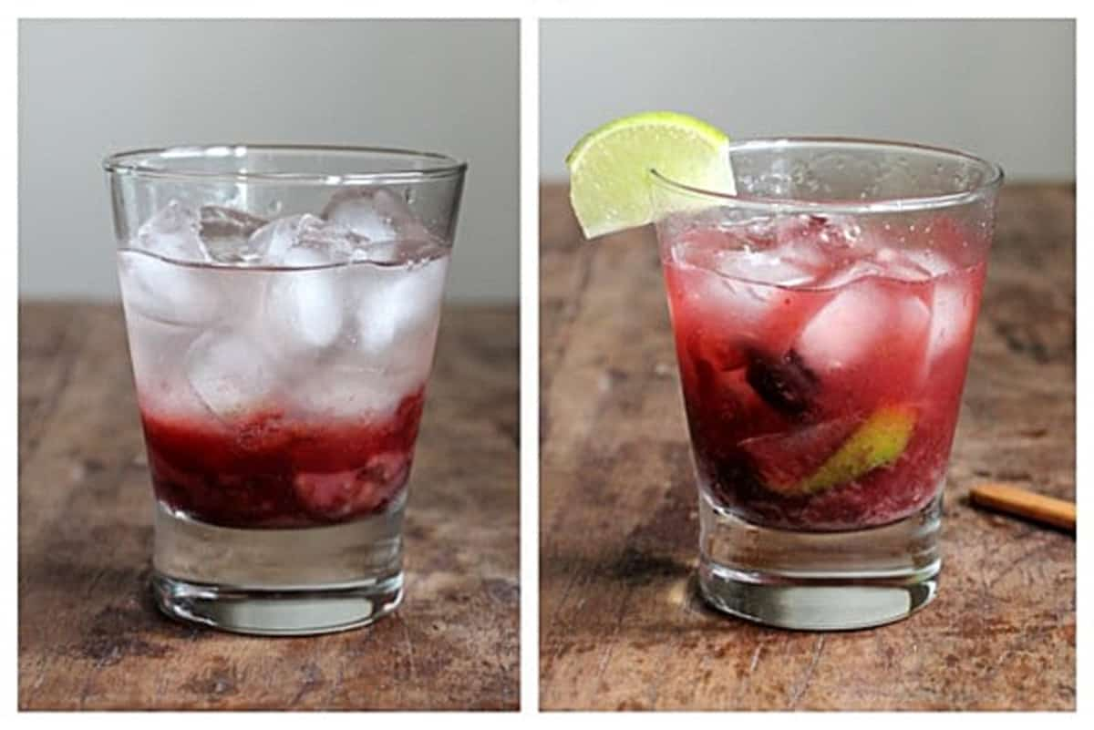 Collage of glass with ice and cherry juice, and filled with vodka and lime