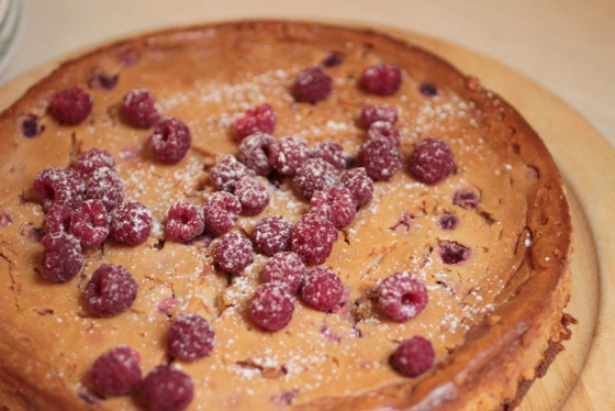 Caramelized White Chocolate Raspberry Cheesecake