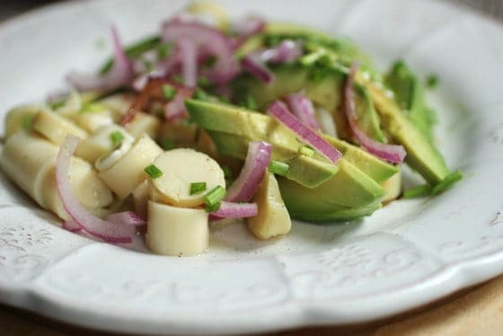 Avocado Red Onion and Hearts of Palm Salad