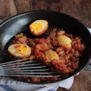 Golden Egg Curry with Homemade Harissa