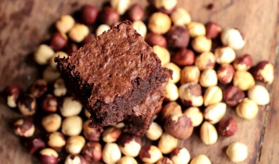 Boozy Fudgy Hazelnut Dark Chocolate Brownies