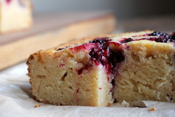Close-up of ricotta cake on white paper