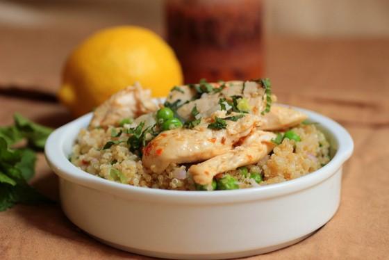 Quinoa and Pea Salad with Harissa Chicken